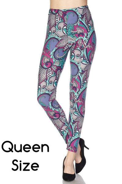 Purple/Blue Abstract Print Queen Size Leggings
