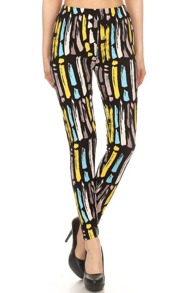 Paint Strokes Print Leggings