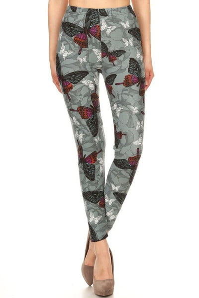 Grey Butterfly Print QUEEN SIZE Leggings