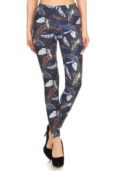 Blue/Beige Butterfly Print QUEEN SIZE Leggings