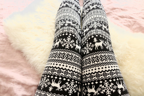 Black/White Reindeer Christmas Print QUEEN SIZE Leggings