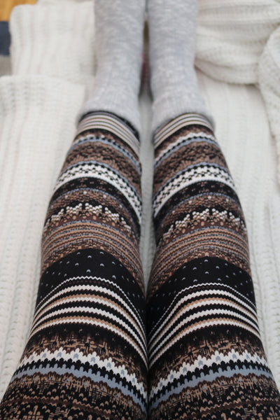 Brown/Grey Nordic Christmas Print QUEEN SIZE Leggings