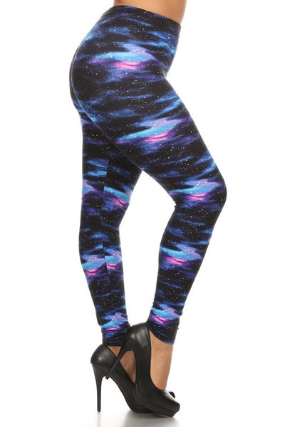 blue galaxy buttery Soft Microfiber High Waist Fashion Patterned Celebrity Leggings for Women plus size