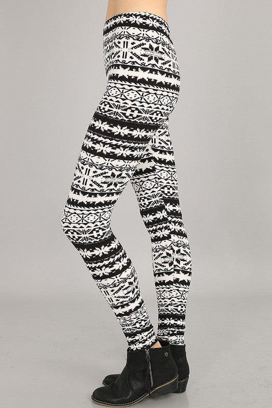 Black/ White Nordic Print Leggings