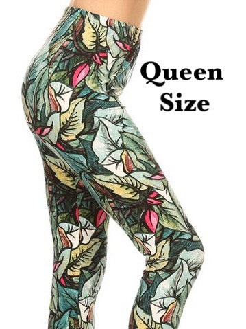 Green Leaf Print QUEEN SIZE Leggings