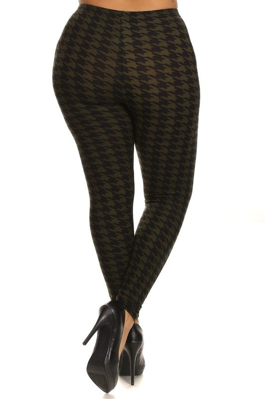 Black/Olive Houndstooth Print QUEEN SIZE Leggings