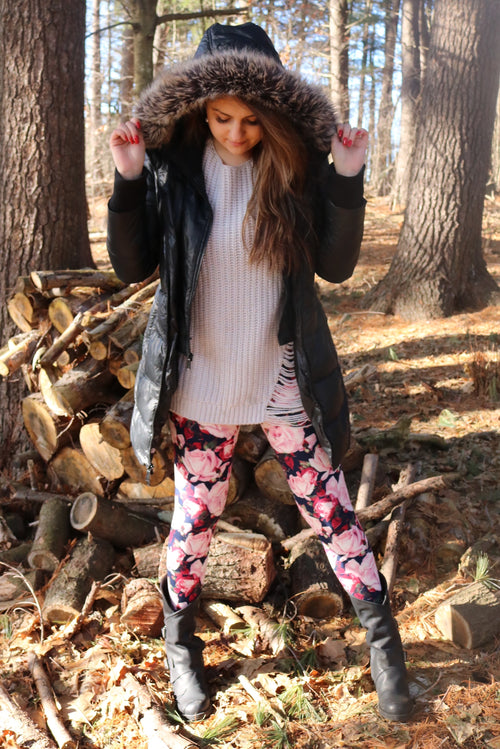 Pink/Burgundy Rose Print Queen Size Leggings