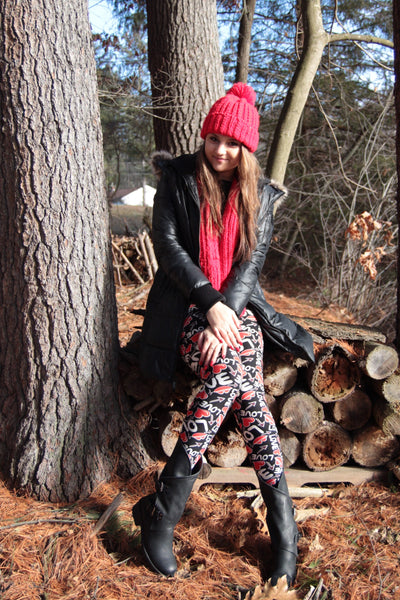 Hearts Love Print Queen Size Leggings