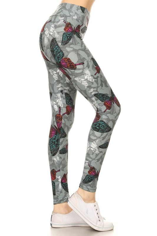 Yoga Waist Butterfly Print  Leggings