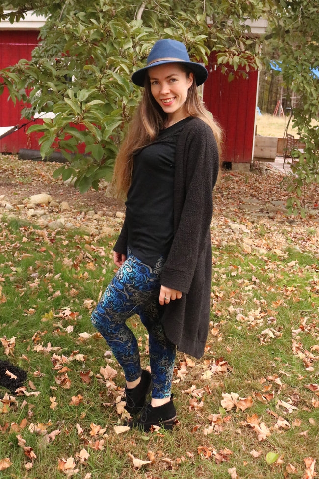 Blue Swirl Print Leggings