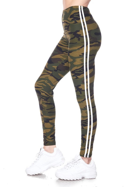 Striped Army Print Leggings