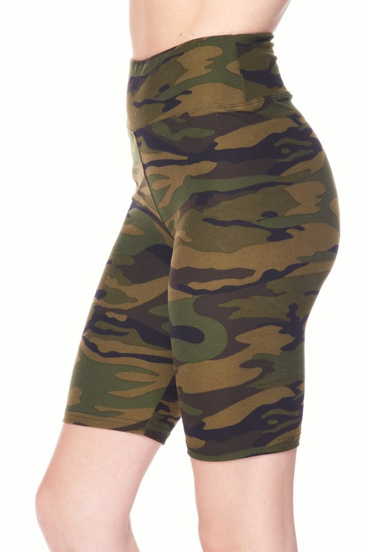 Yoga Waist Army Biker Shorts