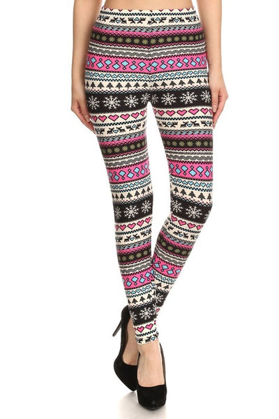 Pink Holiday Nordic  Leggings