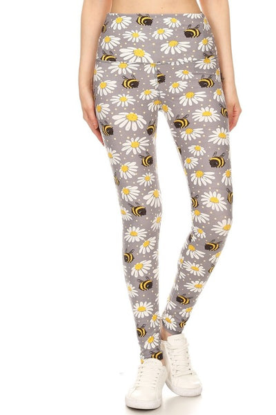 Yoga Waist Daisies N Bee Print Leggings