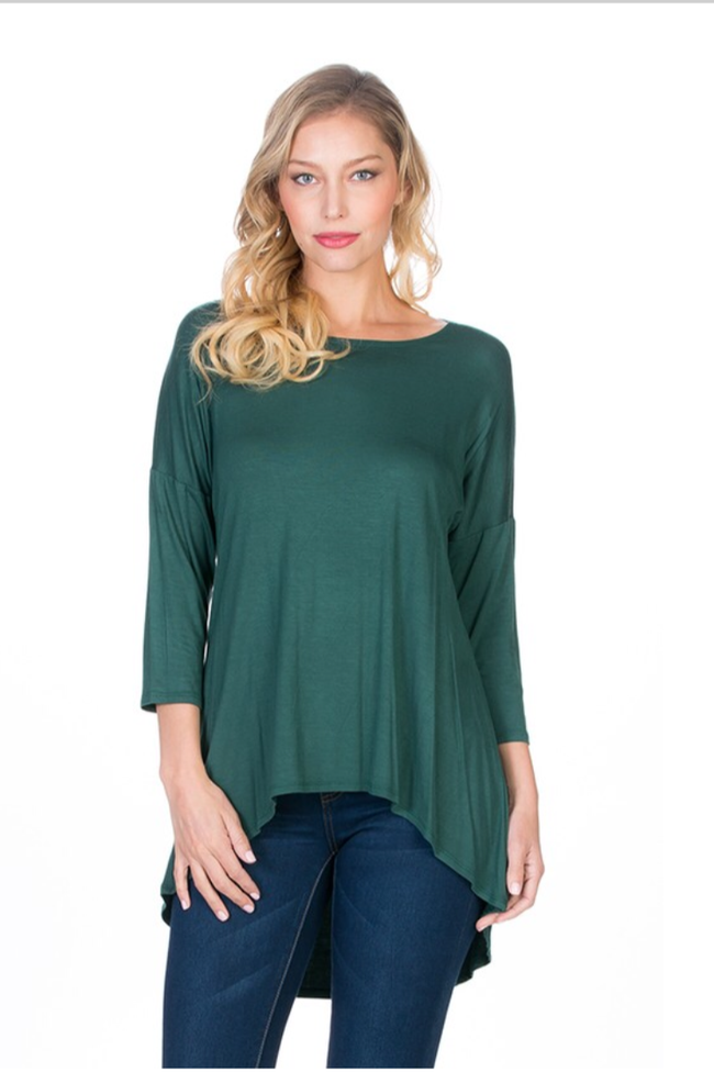 Dark Green HI-LOW Tunic Top