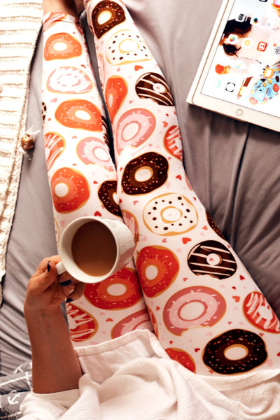 donut buttery Soft Microfiber High Waist Fashion Patterned Leggings for Women one size