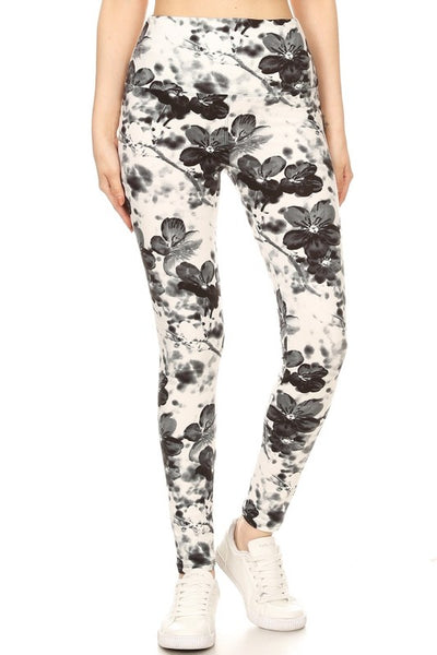 Yoga Waist Abstract Flower Print  Leggings