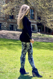 Grey Floral Print Leggings