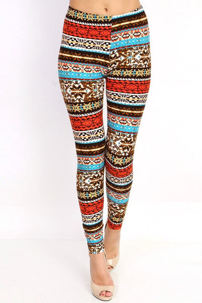Orange/Blue Fair Isle Nordic Print Leggings