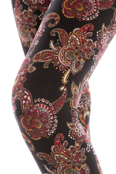 multicolor paisley buttery Soft Microfiber High Waist Fashion Patterned Celebrity Leggings for Women one size