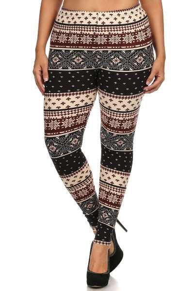 Knit Print Queen Size Leggings
