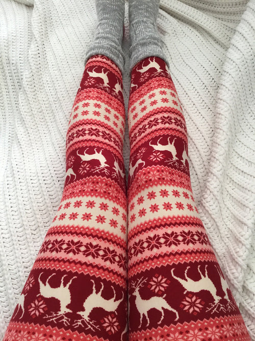 Beige/Red Reindeer Christmas Print QUEEN SIZE Leggings
