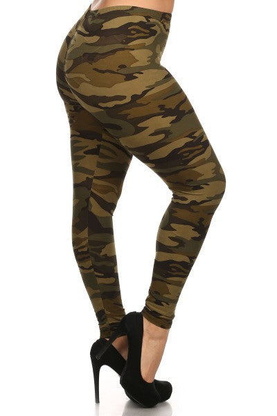 Ultra soft microfiber army print leggings Plus size