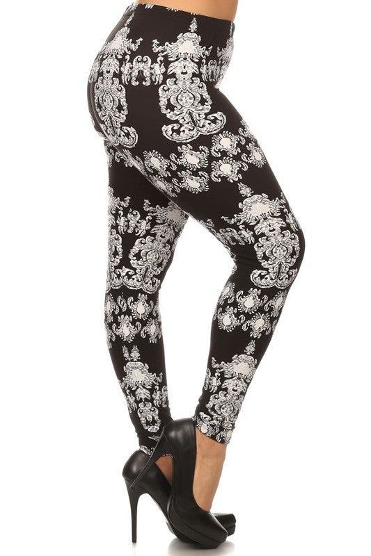 Black/White Paisley Print QUEEN SIZE Leggings