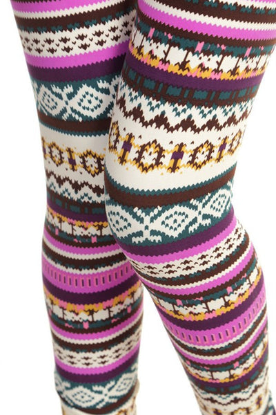 pink nordic sweater christmas buttery Soft Microfiber High Waist Fashion Patterned Celebrity Leggings for Women one size