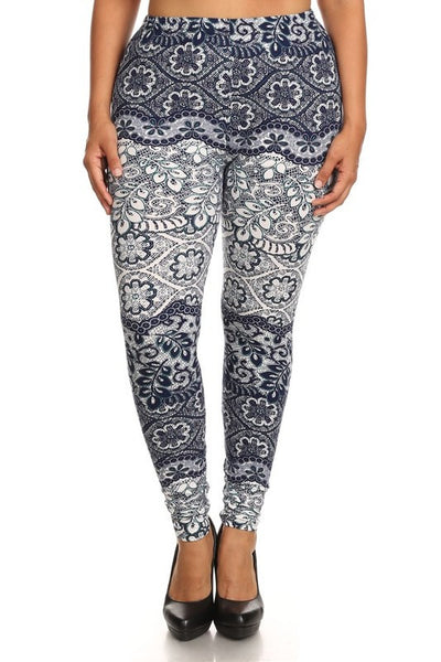 Navy Lace Print QUEEN SIZE Leggings