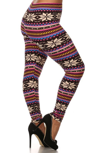 pink snowflake buttery Soft Microfiber High Waist Fashion Patterned Celebrity Leggings for Women plus size
