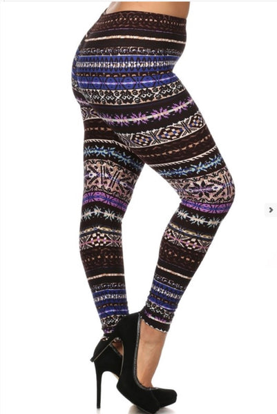Blue/Purple Nordic Print Queen Size Leggings