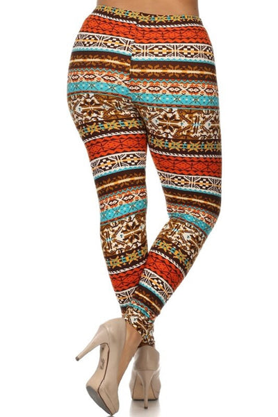 Orange/Blue Nordic Print Queen Size Leggings