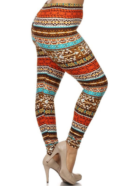 holiday nordic christmas buttery Soft Microfiber High Waist Fashion Patterned Celebrity Leggings for Women plus size