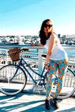 orange blue bicycle buttery Soft Microfiber High Waist Fashion Patterned Celebrity Leggings for Women one size