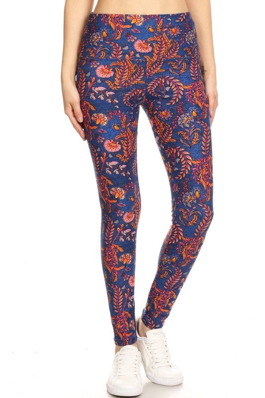 Yoga Waist Multicolor Paisley Print Leggings