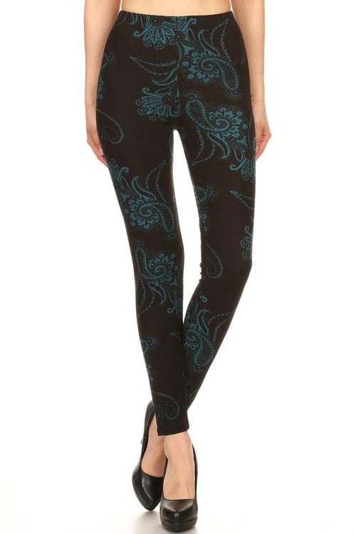 Teal Paisley Print Leggings
