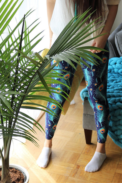 blue peacock buttery Soft Microfiber High Waist Fashion Patterned Celebrity Leggings for Women one size