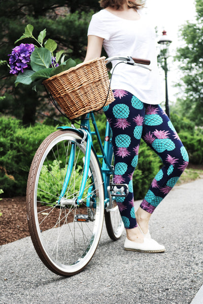 teal pink pineapple buttery Soft Microfiber High Waist Fashion Patterned Celebrity Leggings for Women one size