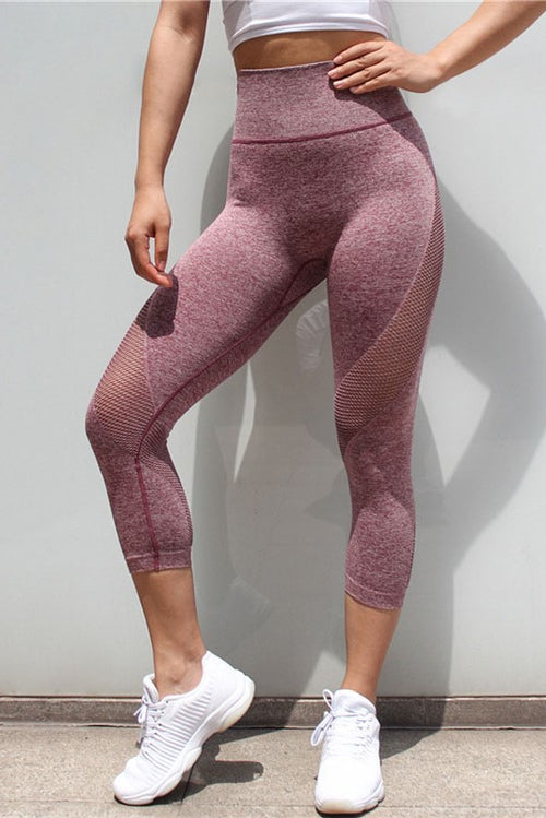Burgundy Mesh Seamless Workout Waist Slimming Capris