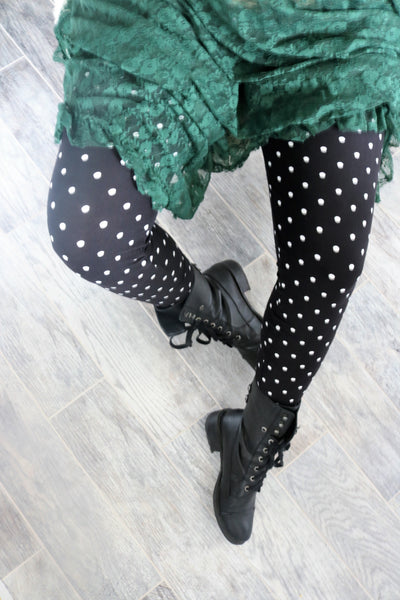 black white polka dot buttery Soft Microfiber High Waist Fashion Patterned Celebrity Leggings for Women plus size