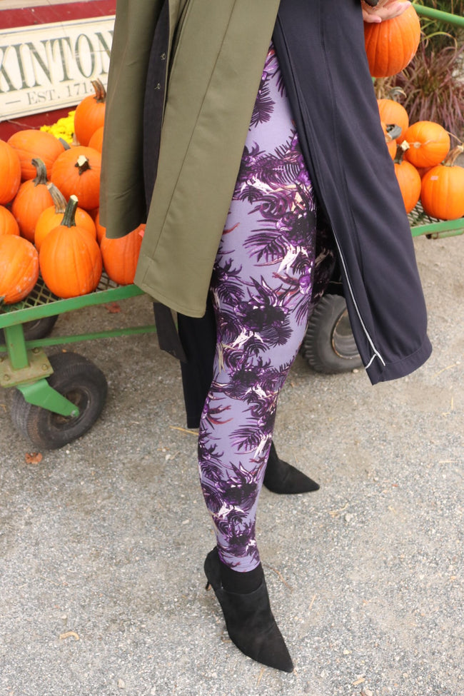 purple bohemian floral  buttery Soft Microfiber High Waist Fashion Patterned Celebrity Leggings for Women one size