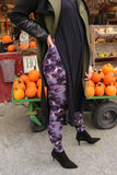 purple bohemian  buttery Soft Microfiber High Waist Fashion Patterned Celebrity Leggings for Women one size