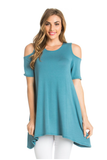 Sage Open Shoulder Tunic Top