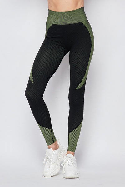 Olive/Black Shape Enhancing Sports Leggings