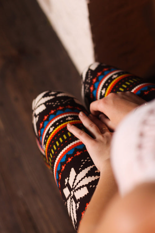 Multicolor Snowflake Print Leggings
