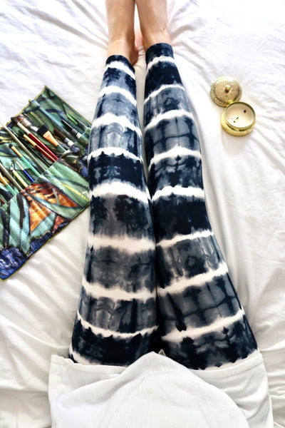 Blue Tie Dye Print Yoga Waist Leggings