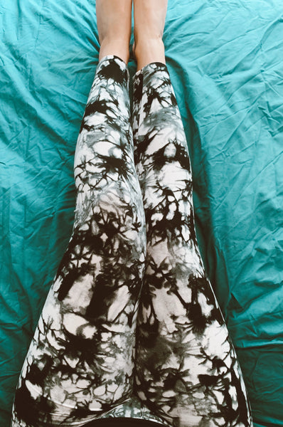 black white tie dye buttery Soft Microfiber High Waist Fashion Patterned Celebrity Leggings for Women one size