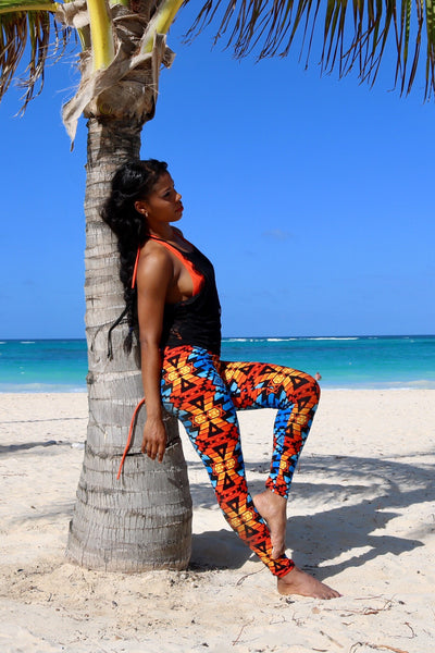 blue orange tribal buttery Soft Microfiber High Waist Fashion Patterned Celebrity Leggings for Women plus size