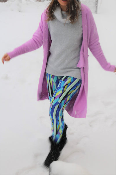 Multicolor Abstract Print Buttery Soft Leggings One Size